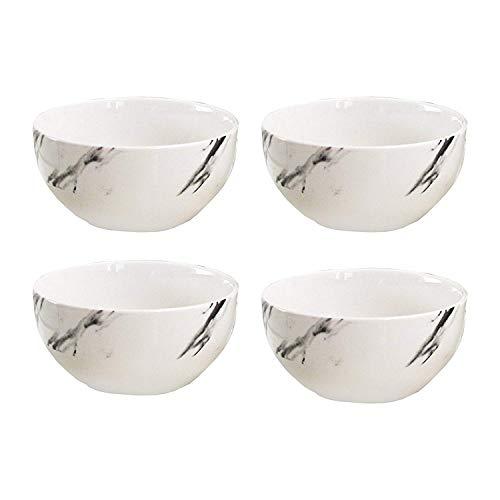 Natural Black Marble Porcelain Dinner Bowl for Soup Salad Cereal Set of 4 - 5.5 D