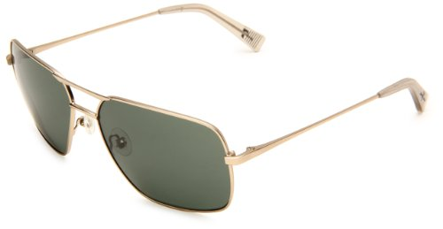 7 For All Mankind Fernanado Rectangle Sunglasses,Yellow & Gold Frame/Green Lens,One - Glasses Seven All For Mankind