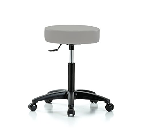 Perch Rolling Single Lever Height Adjustable Swivel Stool for Carpet or Linoleum, Workbench Height, Grey Vinyl