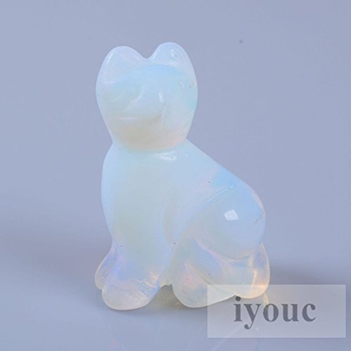 40mm Hand Carved Opalite Gemstone Cat Figurine Statue Stone Carving 1.6