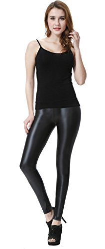 b9d3bfb9cc5 Everbellus Sexy Womens Faux Leather High Waisted Leggings Black Large
