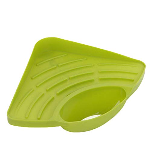 Fan-Ling Sponges Kitchen Sink Corner Shelf,Wall Cuisine Dish Rack Drain Holder,Soap Sponge Rack,Kitchen Sucker Storage Tool (green)