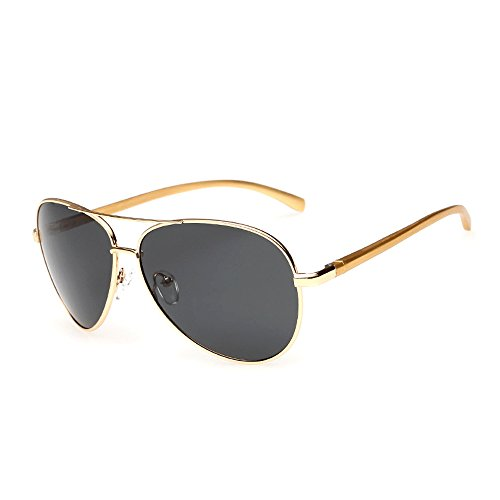 J+S Premium Ultra Sleek, Military Style, Sports Aviator Sunglasses, Polarized, 100% UV protection - (Large Frame - Gold Frame/Black - Sunglasses J S