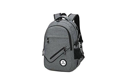 Herren Travel strapazierfähig leicht lässig Wasserabweisendes Polyester Laptop Rucksack mit USB-Ladeanschluss 8030GY freesize 8081GY