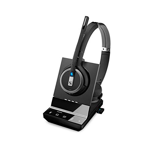 - Sennheiser SDW 5066 (507024) - Double-Sided (Binaural) Wireless Dect Headset for Desk Phone Softphone/PC & Mobile Phone Connection Dual Microphone Ultra Noise Cancelling, Black