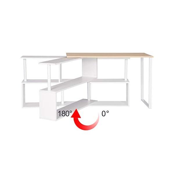 WOLTU TS65hei Table de Bureau en Aggloméré et Acier,Table de Travail PC Table d'ordinateur avec étagères 120x100x74cm…