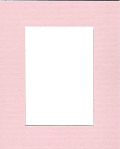 (Pack of (5) 8x10 Acid Free White Core Picture Mats Cut for 5x7 Pictures in Pink)