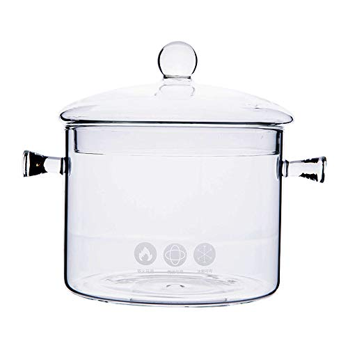 Glass Pot Clear Glass - 1.5L High Borosilicate Heat-resistantGlass Clear Pasta Instant Noodle Pot Pan Stew Cooker Baby Food Milk Sauce Hot Pot with Lid Mini Size Cookware