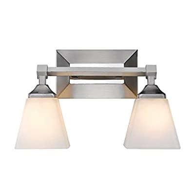 Golden Lighting 2112-BA2 PW-OP Gentry - Two Light Bath Vanity, Pewter Finish with Opal Glass