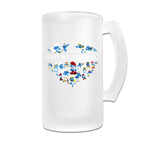 (Printed 16oz Frosted Glass Beer Stein Mug Cup - I Am A Smurf Aholic - Graphic Mug)