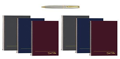 Ampad Gold Fibre Project Planner, Assorted Color Covers, 9.5 x 7.25, 84-Sheets, 6 Notebook Bundle with Plexon Pen