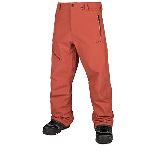 Volcom Men's L Gore-Tex 2 Layer Laminate Snow Pant, Burnt Orange, Extra Large