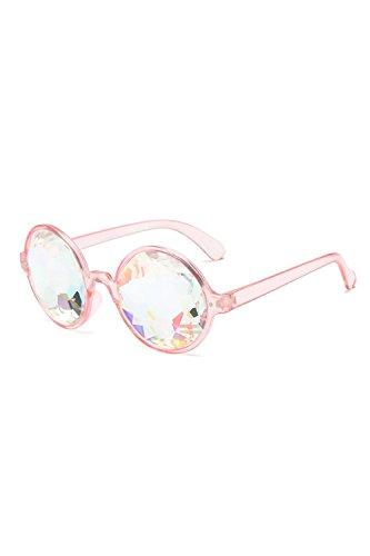 Rave Party Pink Del Lentes La De Caleidoscopio Vidrio Real Cristales Mujer Redonda I4BxfxX