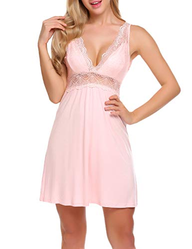 Ekouaer Sexy Cotton Nightgown Short Lace Chemise Sleepwear for Women Pink X-Large