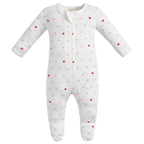 (Owlivia Organic Cotton Baby Boy Girl Zip Front Sleep 'N Play, Footed Sleeper, Long Sleeve (Size 0-18 Month)(3-6Months,Pink)