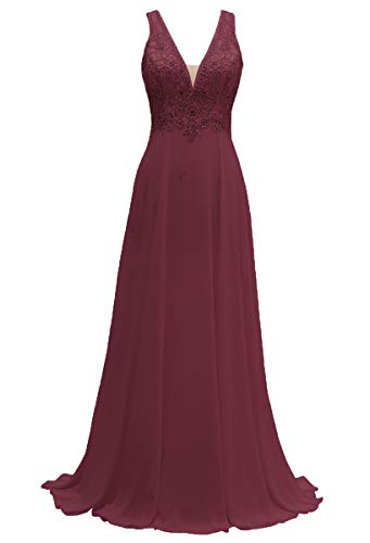 (MARSEN V-Neck Bridesmaid Dresses Long Chiffon Beaded Prom Gowns A-Line Sleeveless for Womens Burgundy Size 14)