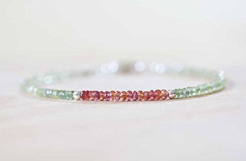 (JP_Beads Green Sapphire Bracelet with Padparadscha, Rose Gold Fill Or Sterling Silver, Delicate Yellow Beaded Bracelet, Jewelry 3mm 7 inches)