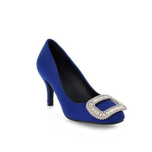 Voguezone009 Des Femmes De Stylet Solide Fermé Orteils Carrés Glaçage Pompes Pu Avec Strass Cloutés Carrés Bleus