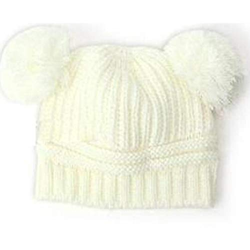 Dickin Kids Baby Solid Knit Hats Double Pompom Fur Ball Hat Winter Warm Cap Hats & Caps
