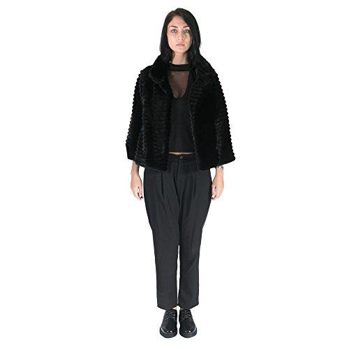 Republica1946 Abrigo de piel de la mujer con mangas largas con la decoración de la raya. RPDIPC02 Negro