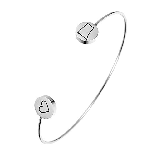 State Bangle Bracelet Connecticut CT - Open Wire Cuff Stainless Steel