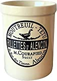 "Kitchen Utensils Crock. High Gloss Quality Utensil Holder with French Farmhouse Provincial Vintage Decal. Counter top organizer. Size 5.9"" high x 4.5"" diameter By Decor D'azur"