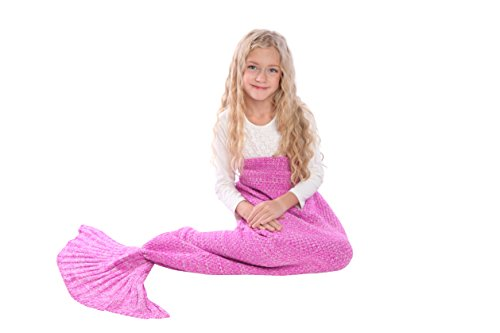 [Mermaid Tail Blanket Knit Crochet and Scale Mermaid Blanket for Adult,Sleeping Blanket (55''x28'',] (Ariel Tail Costumes)