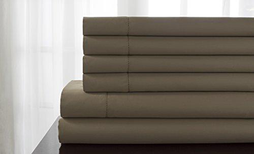 Elite Cotton Pebbles - Elite Home Products Delray 600 Thread Count Hemstitch Solid Bonus 6 Piece Sheet Set, Queen, Pebble