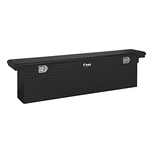 UWS EC10842 69-Inch Gloss Black Heavy-Wall Aluminum Deep Slim Truck Tool Box with Low Profile, RigidCore Lid