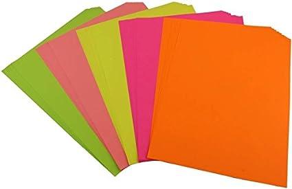 Buy IshStar 80 GSM Fluorescent Neon Paper for Art & Craft, Origami ...