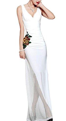 Maglia Delle Ricamo Sexy Bianco Elegante A Fiore Da Jaycargogo Sleevelss Della Abito Sera V Scollo Donne Bqdf7xR