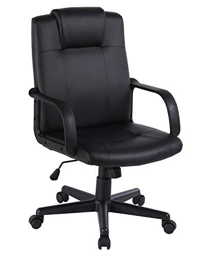 Mid Back PU Leather Executive Home Office Desk Chair Computer Conference Chair with Ergonomic Thick Headrest & Fixed Arms, Black