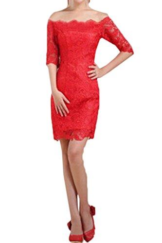Linie Damen Aermel Partykleid Rot Ausschnitt U Hochwertig Abendkleid Spitze Halb Kurz Ivydressing Etui Festkleid Promkleid dwFq8Zd