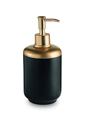 (Lux Basic Free Standing Resin Pump Soap Lotion Dispenser for Bathroom (Black-Gold))