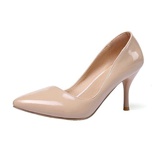 Amoonyfashion Womens Hoge Hakken Stevige Pull-on Pu Gesloten Teen Pumps-schoenen Naakt