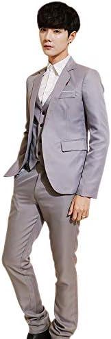 XFentech メンズ スーツ 3点セット - 結婚式 フォーマル ビジネス ボタンを閉じる ブレザー&ジレ ベスト&パンツ
