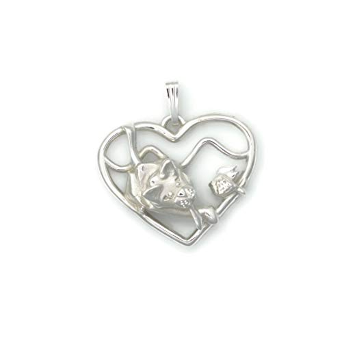 (Sterling Silver Siamese Cat Necklace, Silver Siamese Cat Pendant, Silver Siamese Cat Jewelry fr Donna Pizarro's Animal Whimsey Collection)
