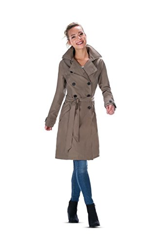 Happy Rainy Days Twill Bonded Winter Trench Coat, Taupe, Small