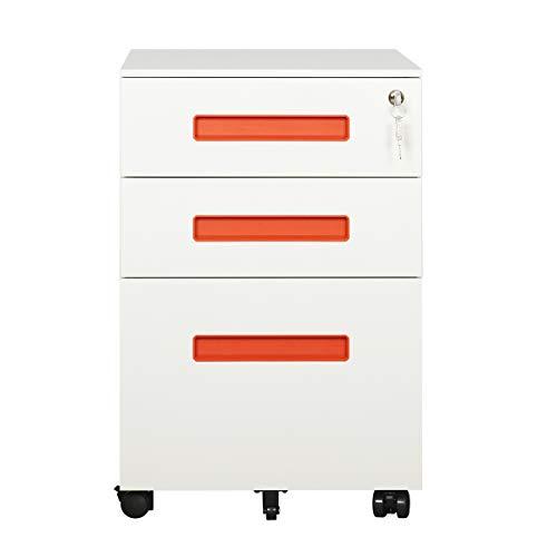 - DEVAISE 3-Drawer Metal Mobile File Cabinet with Lock Keys (White & Orange Cabinet)