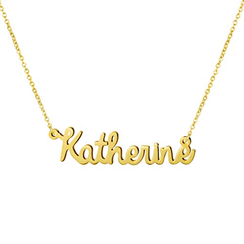 Awegift Name Necklace Big Initial Gold Plated Best Friend Jewelry Women Gift for Her Katherine
