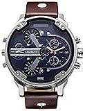 CAGARNY Original Men's Sports Leather Strap 2 dials can work Quartz Date Watch 6820 Silver Blue