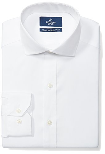 Buttoned Down Men's Tailored Fit Cutaway-Collar Solid Non-Iron Dress Shirt (No Pocket), White, 18.5