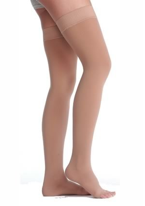 Juzo Soft Thigh High With Silicone Dot Band 20-30mmHg Open Toe, II, Beige