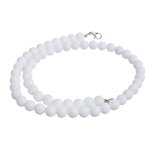 Red Cube Women White Vintage Classic Pressed Agate Beaded Thread Necklace Beads Jewelry (White) -