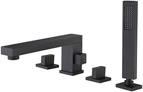 現代的なシャワーセット浴槽蛇口シングルハンドル浴室の浴槽の蛇口と冷水、デッキマウント浴槽の蛇口ハンドヘルドシャワー,Matte black