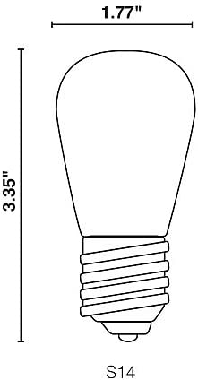 Halco 80521 Case of 25 S14WH1C//LED S14 1.4W White Dimmable E26 ProLED Sign Scoreboard Light Bulb