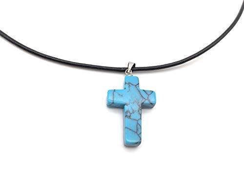 xinpeng Bless Natural Gems Cross Pendant Lucky Necklace Healing Gemstone Symbol of Salvation Good News with 18