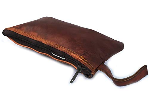 Handmade Vintage Leather Pencil Case, Pencil Bag Pouch with Zipper Pen Holder Handmade Genuine Leather Stationary Case for Students Businessmen and Artists Home Work Office -