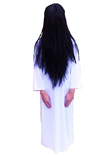 [PEPUJP Adult Japan Movie Sadako Cosplay Costume Wig Set One Size White] (Halloween Little Dead Riding Hood Costume)