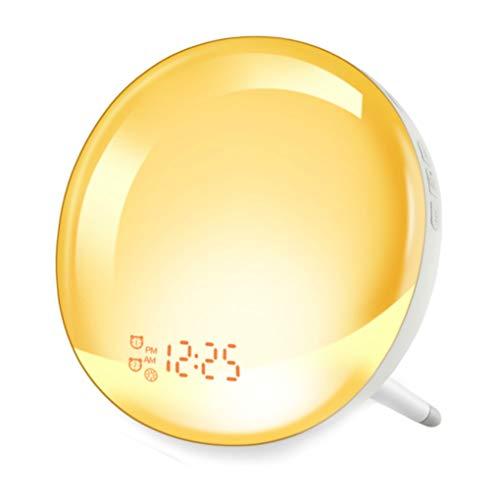 Wake Up Light Alarm Clock, GEEMAK Sunrise & Sunset Simulation 7 Colored Sleep Aid Light with FM Radio, 2 Alarms /7 Natural Alarm Sounds/Snooze/20 Brightness (Middle)